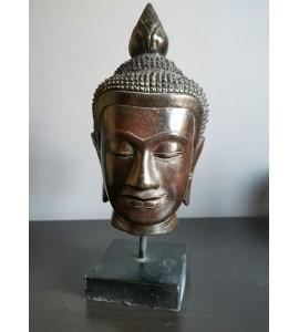 Buste de Bouddha kmer marron