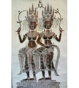 Poster de deux Apsaras en papier relief